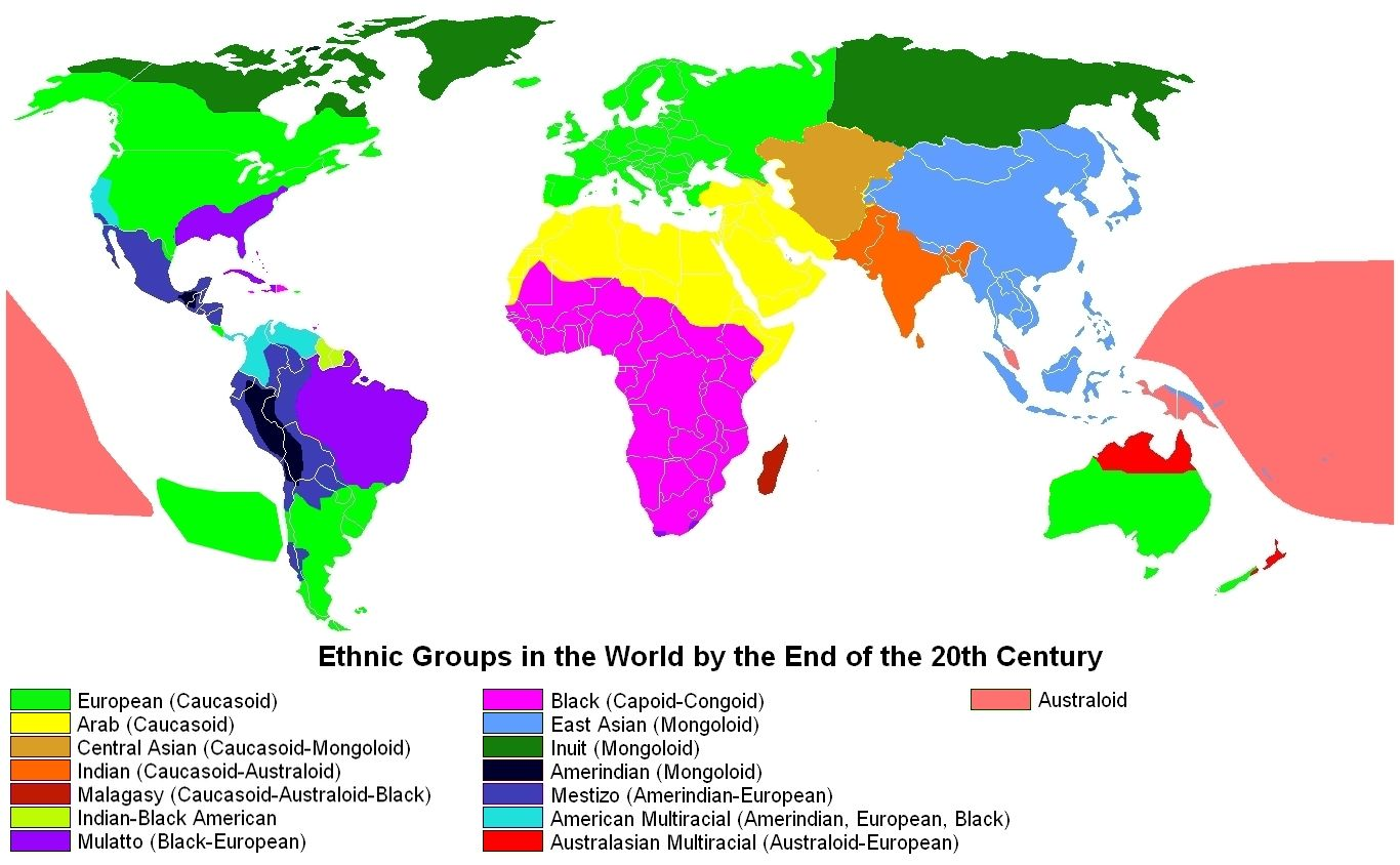 Ethnic groups in the world by the end of the 20th century