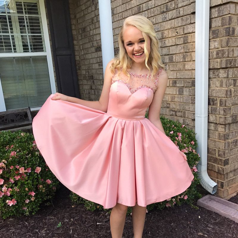 pink homecoming dresses, A-line homecoming dresses, beaded ...