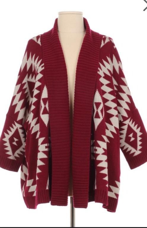 Burgundy Aztec Sweater