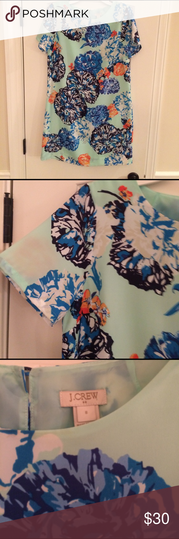 Floral shift dress Mint colored floral shift dress. Keyhole open at back with button detail J. Crew Dresses