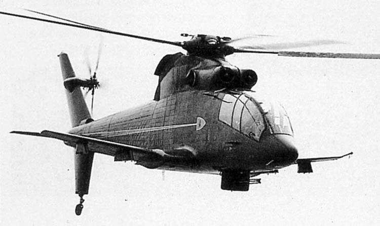 Sikorsky S-67 Blackhawk, America's attempt at building it's own version of a Mi-24 Hind. I'm not sure where when looking at it, but this thing could apparently carry troops into combat.