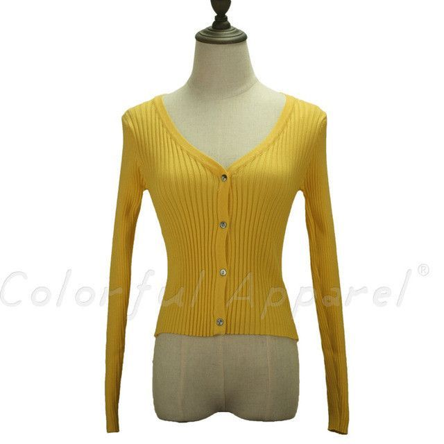 2016 New autumn fall women V neck solid color long-sleeved single breasted female sweaters cardigans