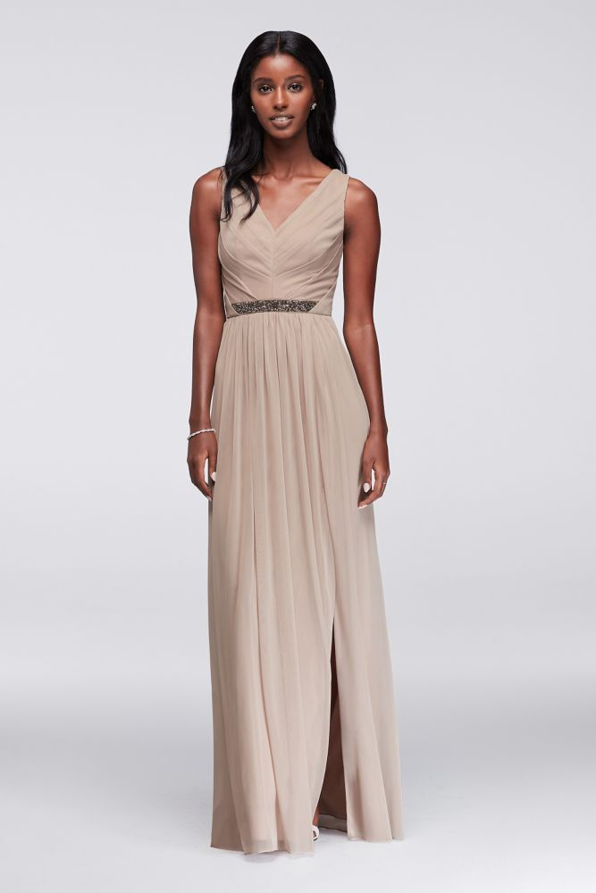 Long Mesh Bridesmaid Dress with V-Neck and Beaded Waistband - Biscotti, 16
