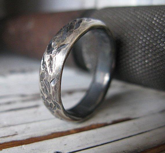 Sterling Silver Mens Wedding Band 5mm Distressed Ring Unique Mens Ring Mens Wedding Rings Black Viking Wedding Ring Mens Engagement Ring Mens Wedding Rings Black Sterling Silver Mens Wedding Bands Mens