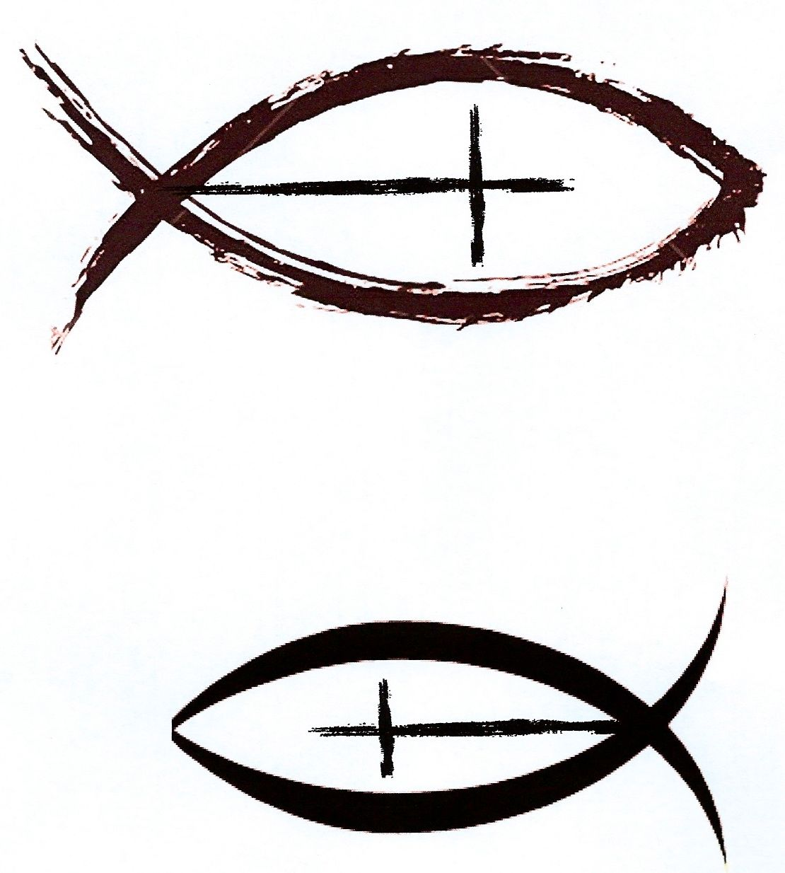 Christian fish with cross as a side tattoo with cross for Christian fish sign