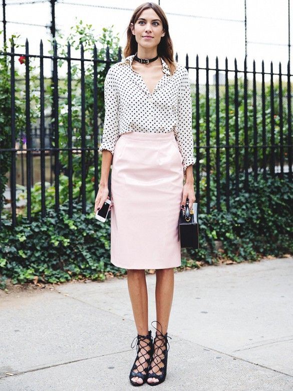 df9acdf59f7c Alexa Chung in a polka dot shirt tucked into a pink pencil skirt. //  #StreetStyle