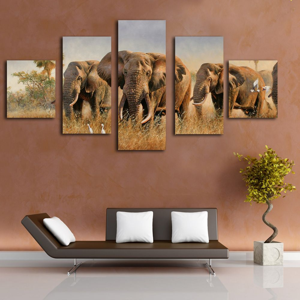 Wall art elephant - 5 Pieces Wall Art Elephant Canvas Painting Simple Decoration Artwork On Room