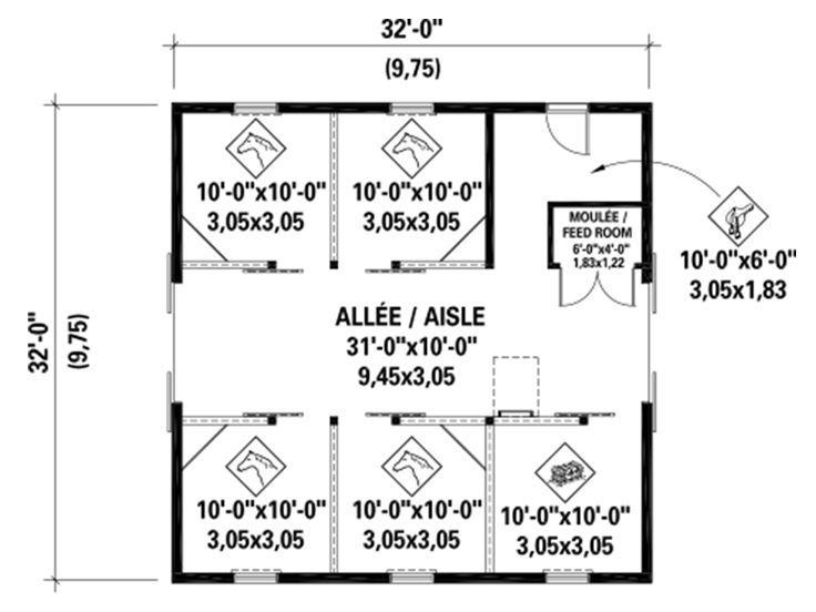 Barn Plans | Horse Barn Plan with Loft # 072B-0003 at ...