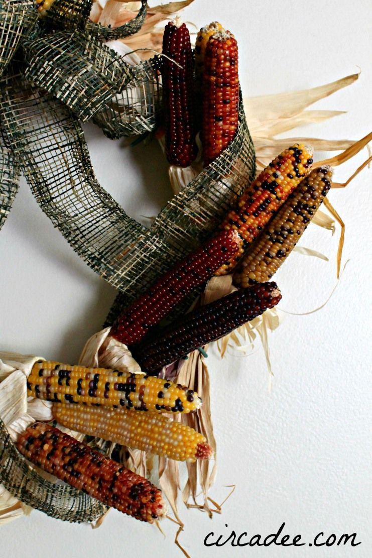 mini Indian corn wreath