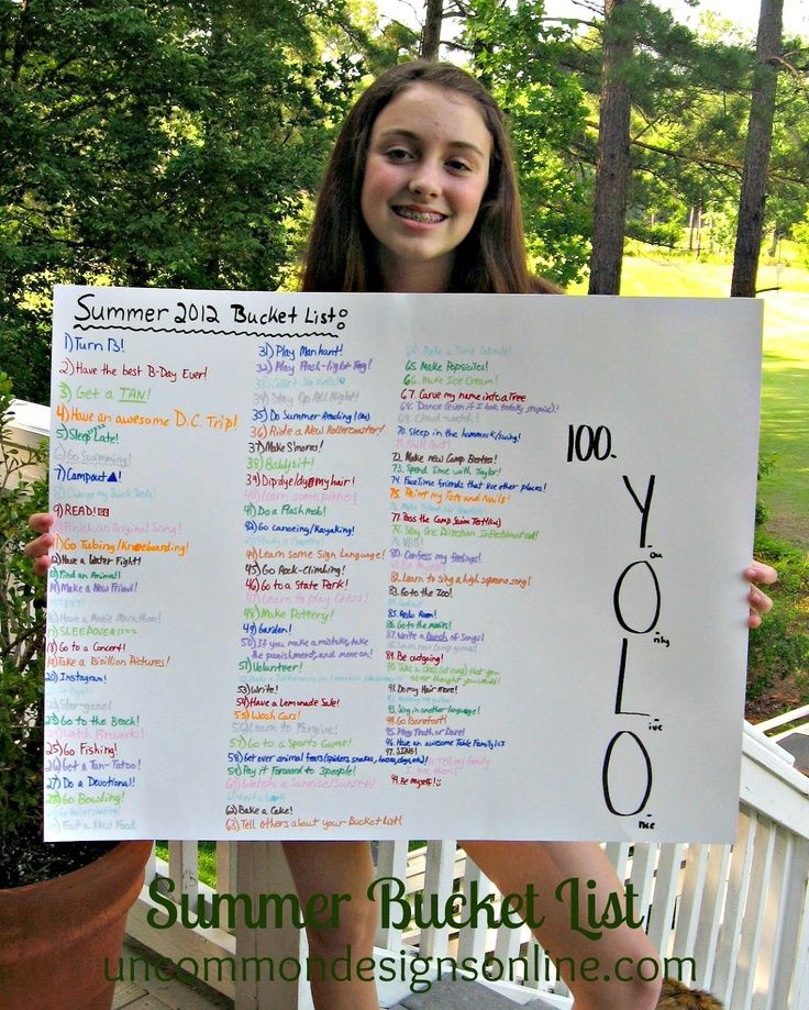 Summer Bucket List... this teenager is SO inspiring! So cute for kids to do, learning to dream.
