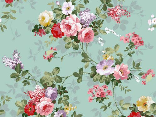 Floral Aqua Red Pink Green Purple Yellow Vintage