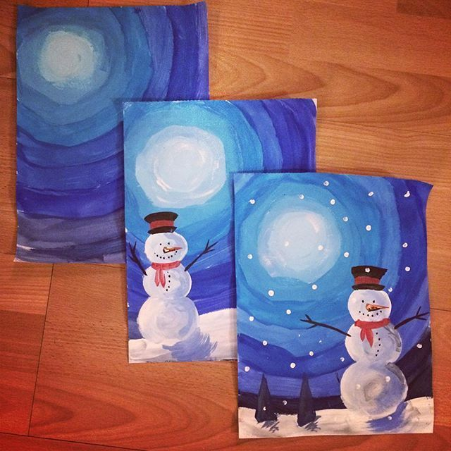 Schneemann mit Wassserfarben malen in der Grundschule – Winter, Winterbild – Kunst: Dieses Schneemannbild eignet sich zum Üben des Mischens von Blautönen im Kunstunterricht sowie die Darstellung von Licht und Schatten. Snowman elementary arts project