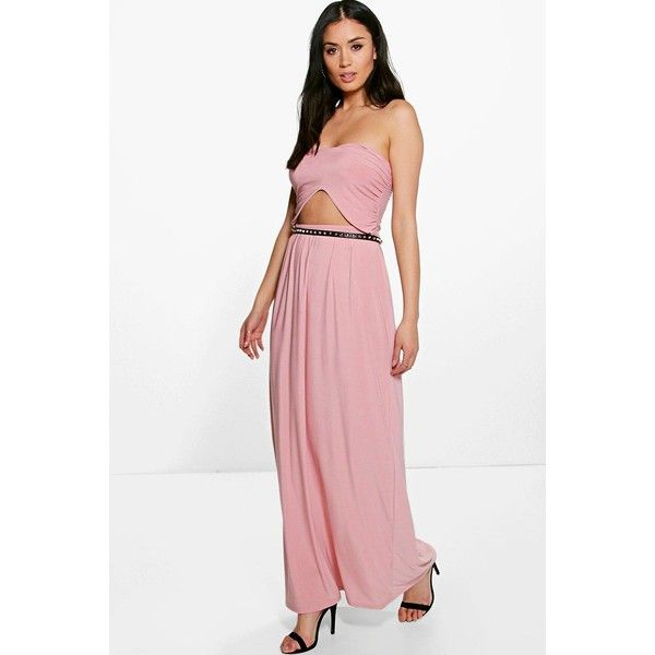 Boohoo Night Lily Front Cut Out Bandeau Maxi Dress ($30) ❤ liked on ...