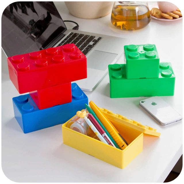 vanzlife building block shapes can be superimposed on the desktop storage box plastic storage box storage box office stationery