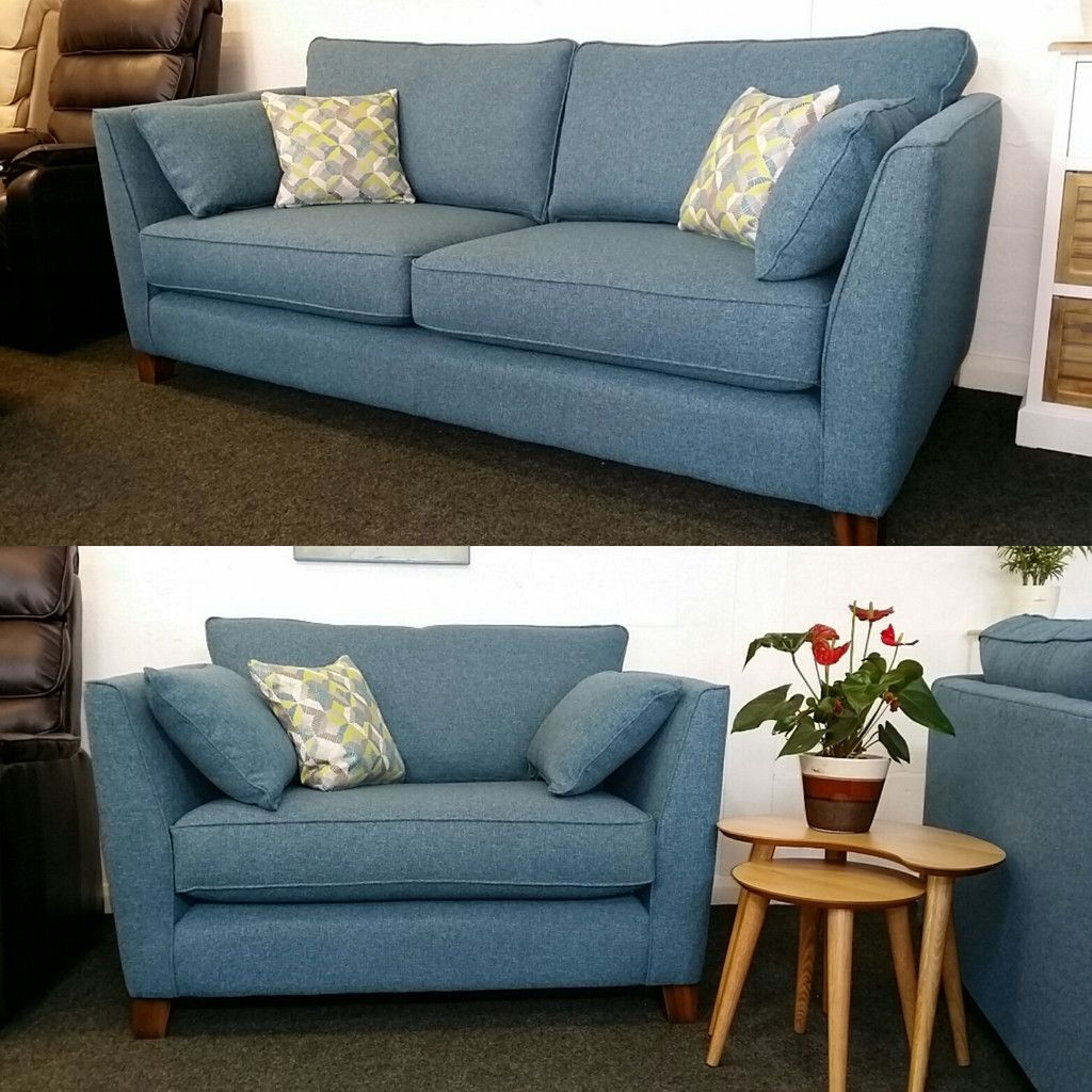 Cheap Furniture With Delivery: Martina Teal Blue Sofa & Snuggler Chair £899 Inc Free