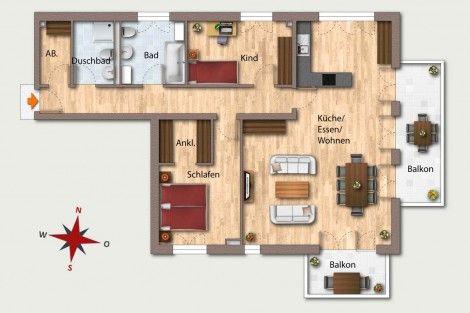 Wohnung 23  OG 4 115,74 m² Aufteilung 4 Zimmer Wohnen - küche zu verkaufen
