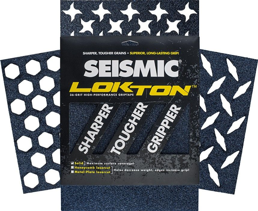 Seismic Lokton Griptape sheets. Available as Solid, Honeycomb and Metal plate. 36grit - 3 sheets | Color Midnight Blue. 28x28 cm