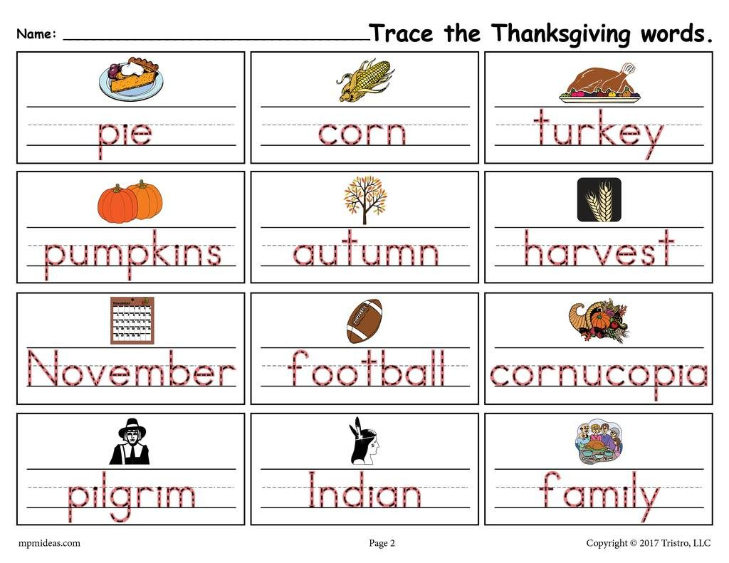 Printable Thanksgiving Words Handwriting Amp Tracing