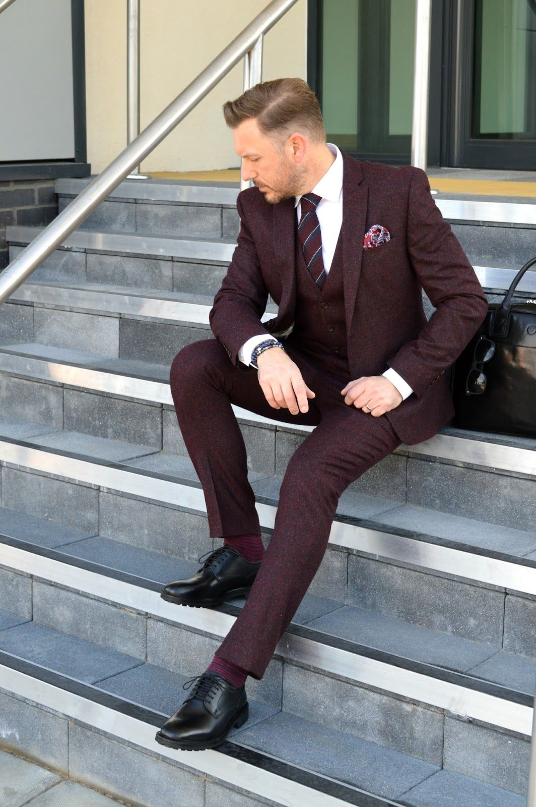 What I Wore Today - The Burgundy Nep Suit From Next | Dapper and ...