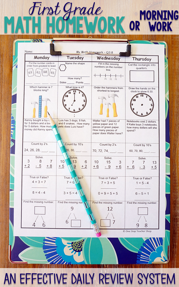 This First Grade spiral math review resource is fully EDITABLE and comes  with answer keys and a pacing guide.