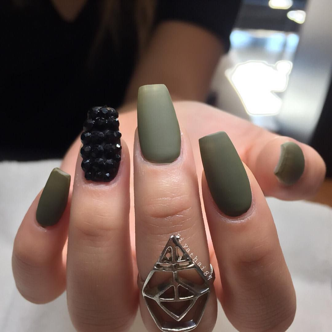 Riya On Instagram Armygreen Is The New Black Green Nails Army Nails Nails