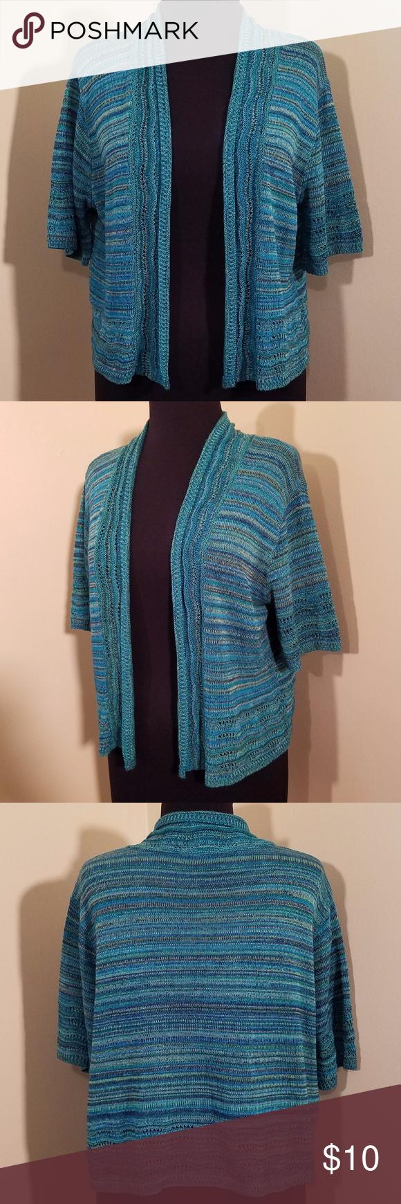 Short-sleeve Turquoise Cardigan, 1X | Turquoise cardigan ...
