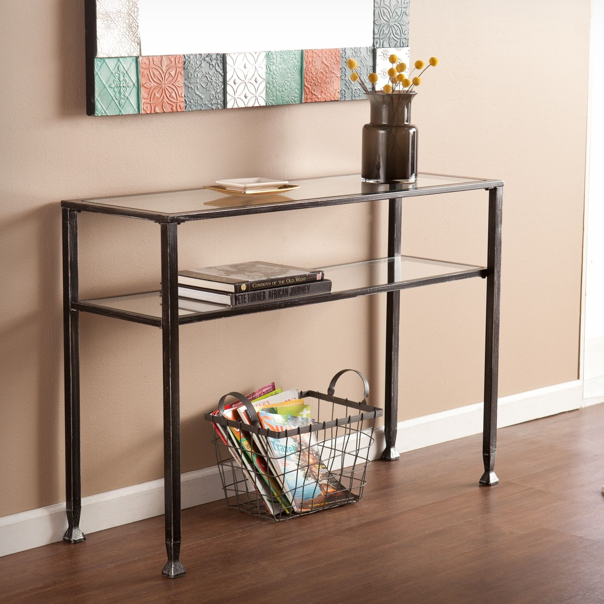 Youll appreciate the extra display space this modern metal sofa youll appreciate the extra display space this modern metal sofa table adds to your home geotapseo Image collections
