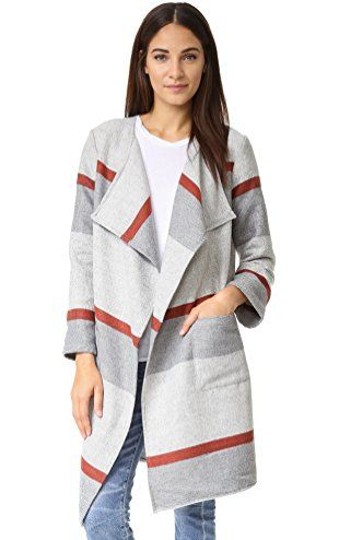 2db41cb63b0 cupcakes and cashmere Women s Jolie Yarn Dyed Stripe Blanket Coat ...