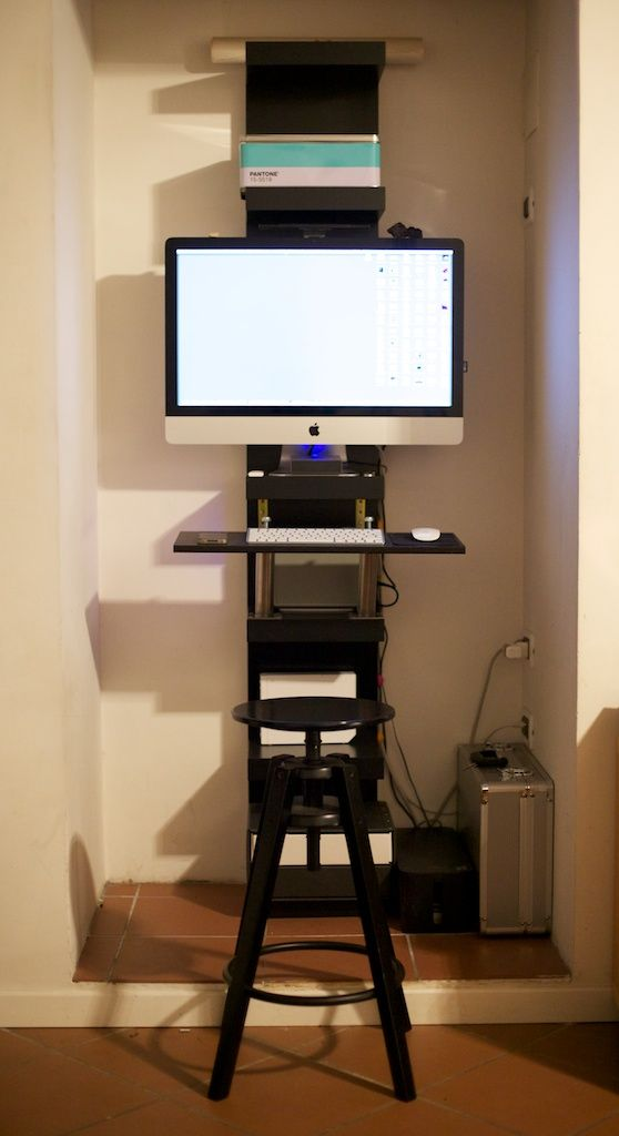 When Imac Goes To Work Ikea Hackers Ikea Lack Wall Shelf Ikea Hackers Small Office Furniture
