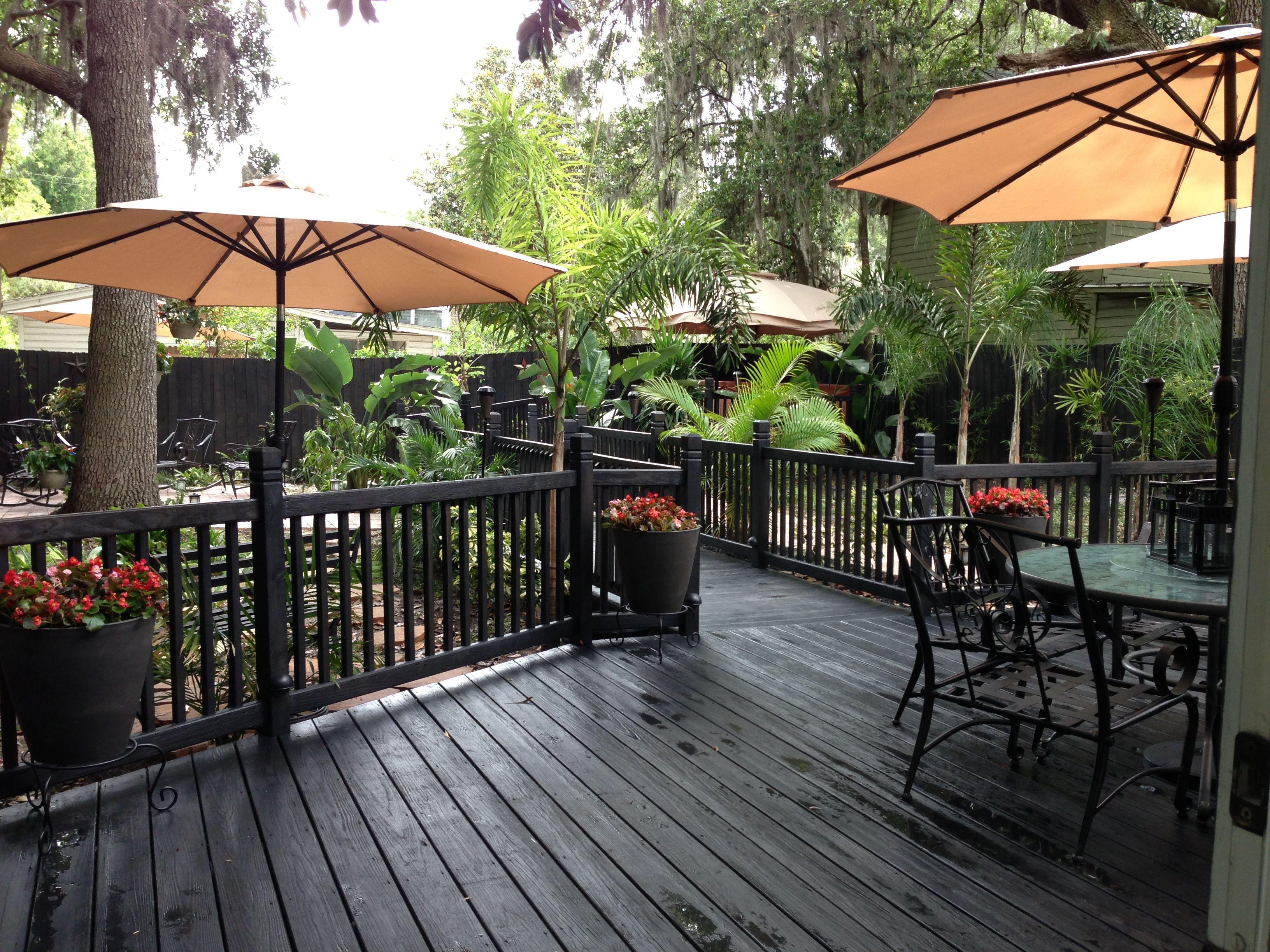 Backyard deck with black slate waterproof stain backyard for Garden decking varnish