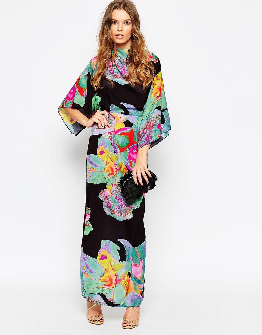 Asos 70 S Kimono Maxi Dress In Placed Black Floral At Asos Com [ 1110 x 870 Pixel ]