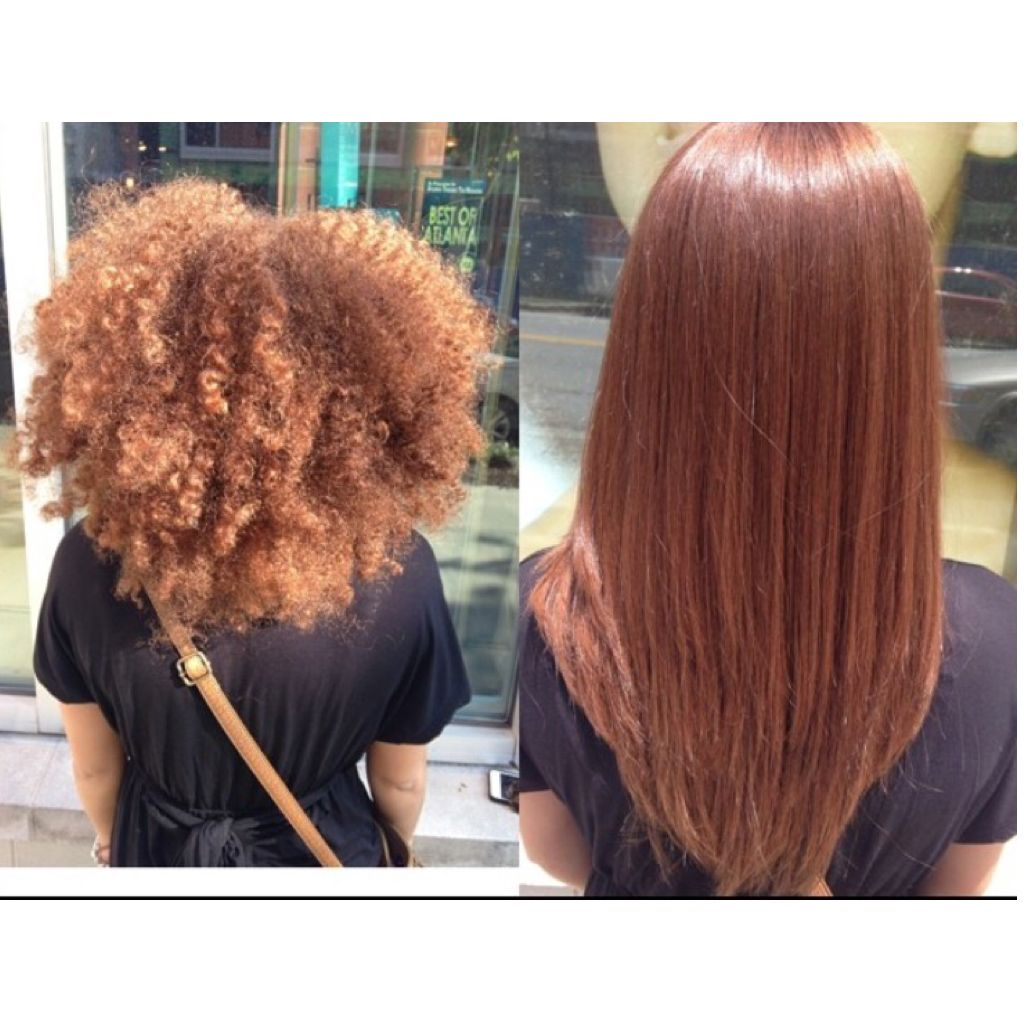 before and after silk press. natural hair, long hair, healthy hair
