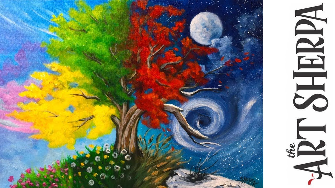 How To Paint With Acrylic On Canvas 4 Season Tree Step By Step