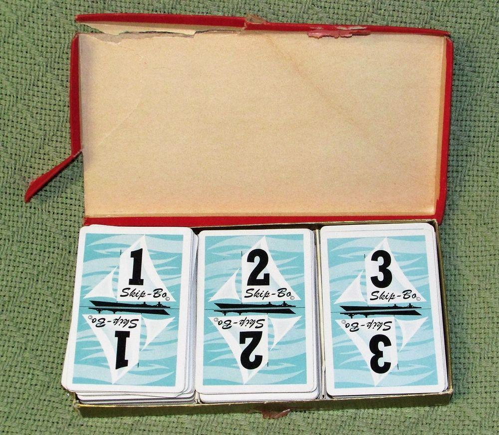 1967 Skip Bo Original Design Card Game Red Felt Box 180 Cards