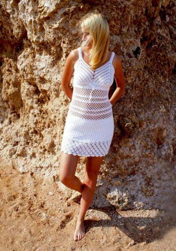 Items similar to Beach crochet dress PATTERN, written tutorial in ENGLISH, sexy crochet tunic pattern PDF, crochet beach tunic pattern, crochet beach dress. on Etsy