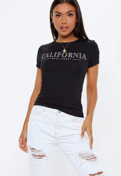 f1543efded3c4 Missguided Black California T Shirt