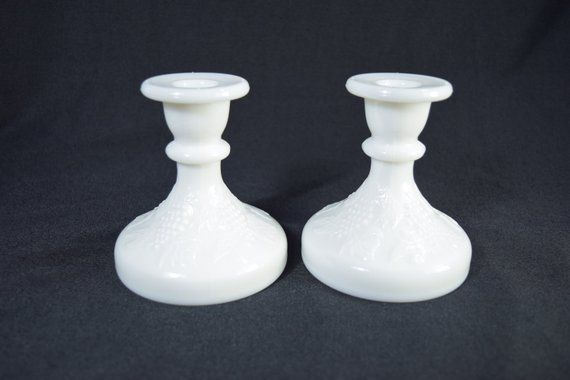 Pair of White Milk Glass Taper Candlestick Holders for Wedding Decoration #whitecandleswedding