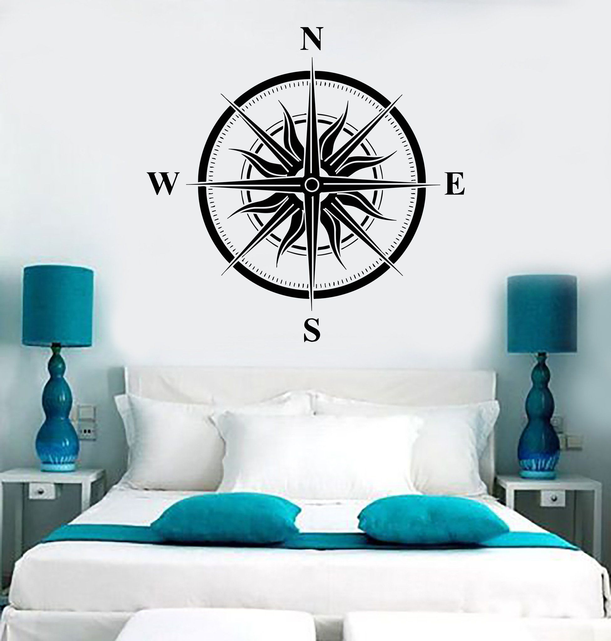 Vinyl Wall Decal Wind Rose Sun Nautical House Interior Stickers ...
