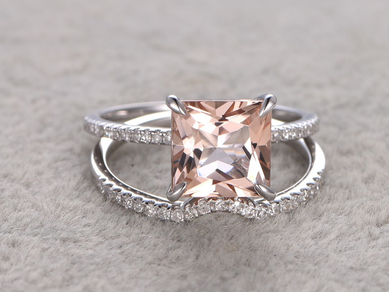 2 5 to 3 Carat Princess Cut Morganite Wedding Set Diamond Bridal