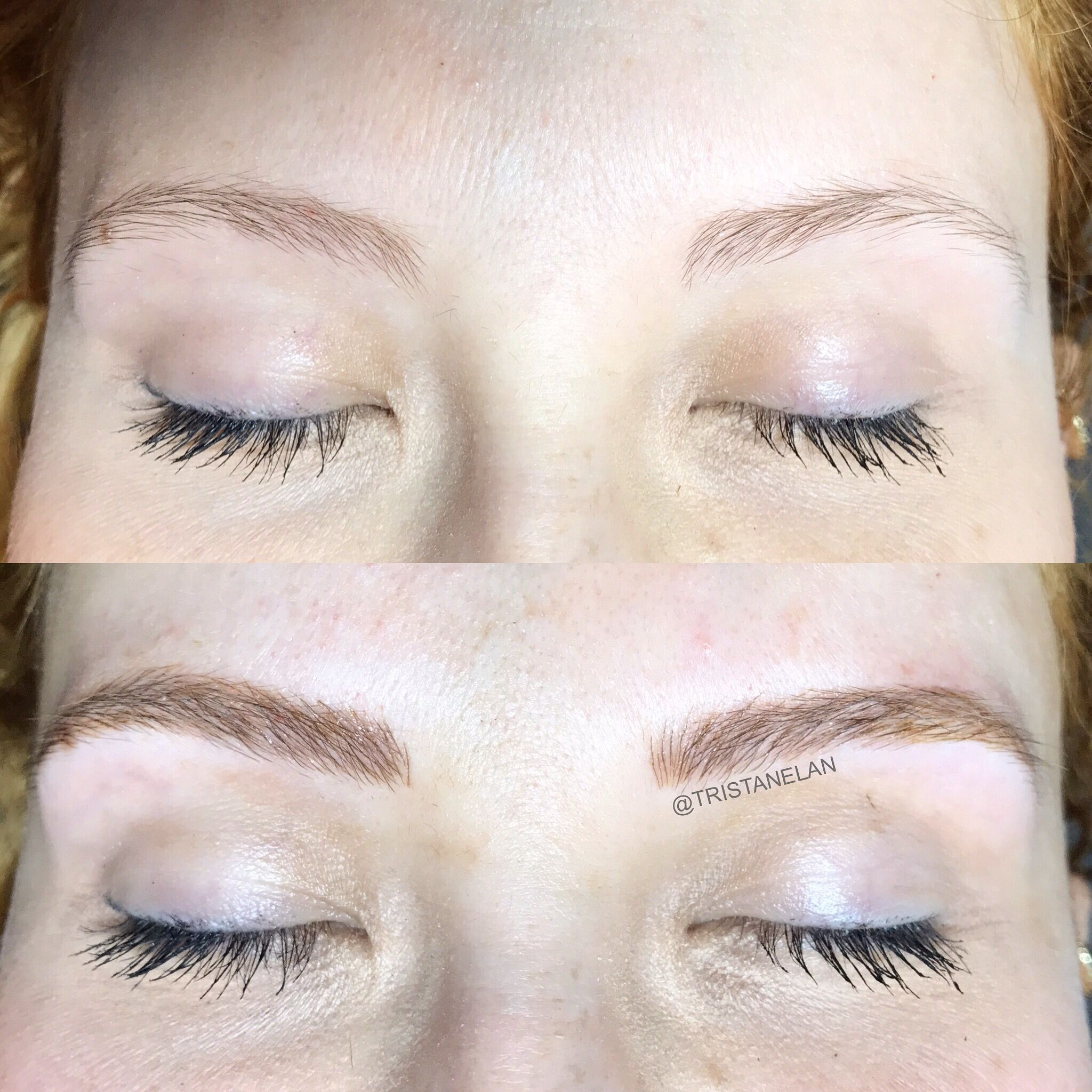 Microblading cosmetic tattoo before and after