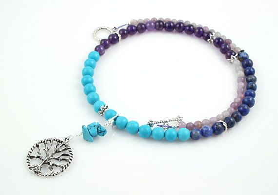 Pregnancy Trimester Tracking Necklace - Pick your charm - Dreamy ocean - Lapis lazuli, turquoise, amethyst: https://www.etsy.com/listing/183247832/pregnancy-trimester-tracking-necklace