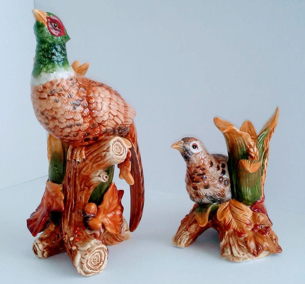 Fitz & Floyd Harvest Pheasant Candlestick Holders Male