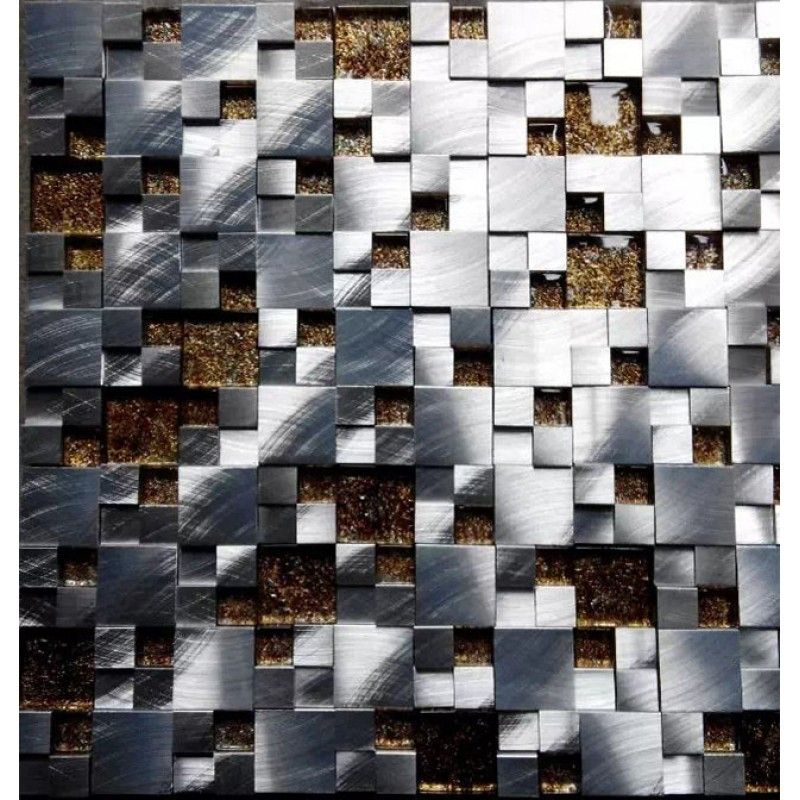 Glass Tile Sheets Backsplash Brushed Aluminum 3d Mosaic Metal