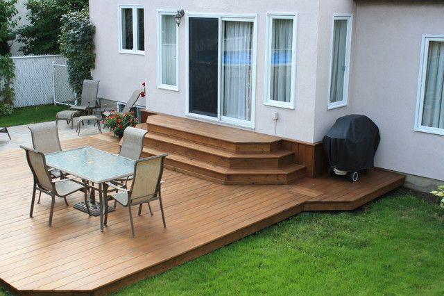 Platform deck with steps to door river house pinterest for Small platform deck design