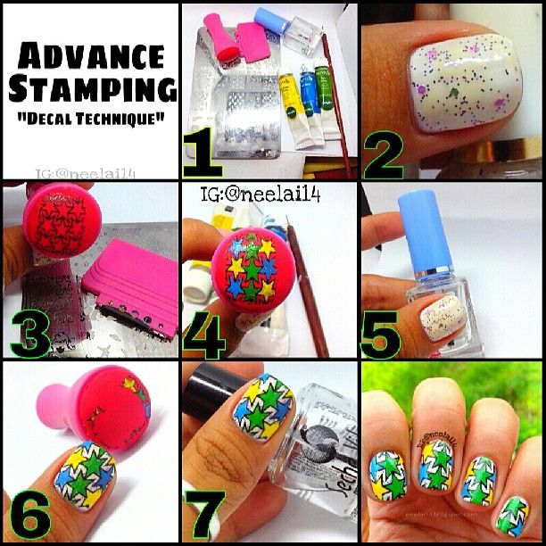Nail Stamping With Acrylic Paint
