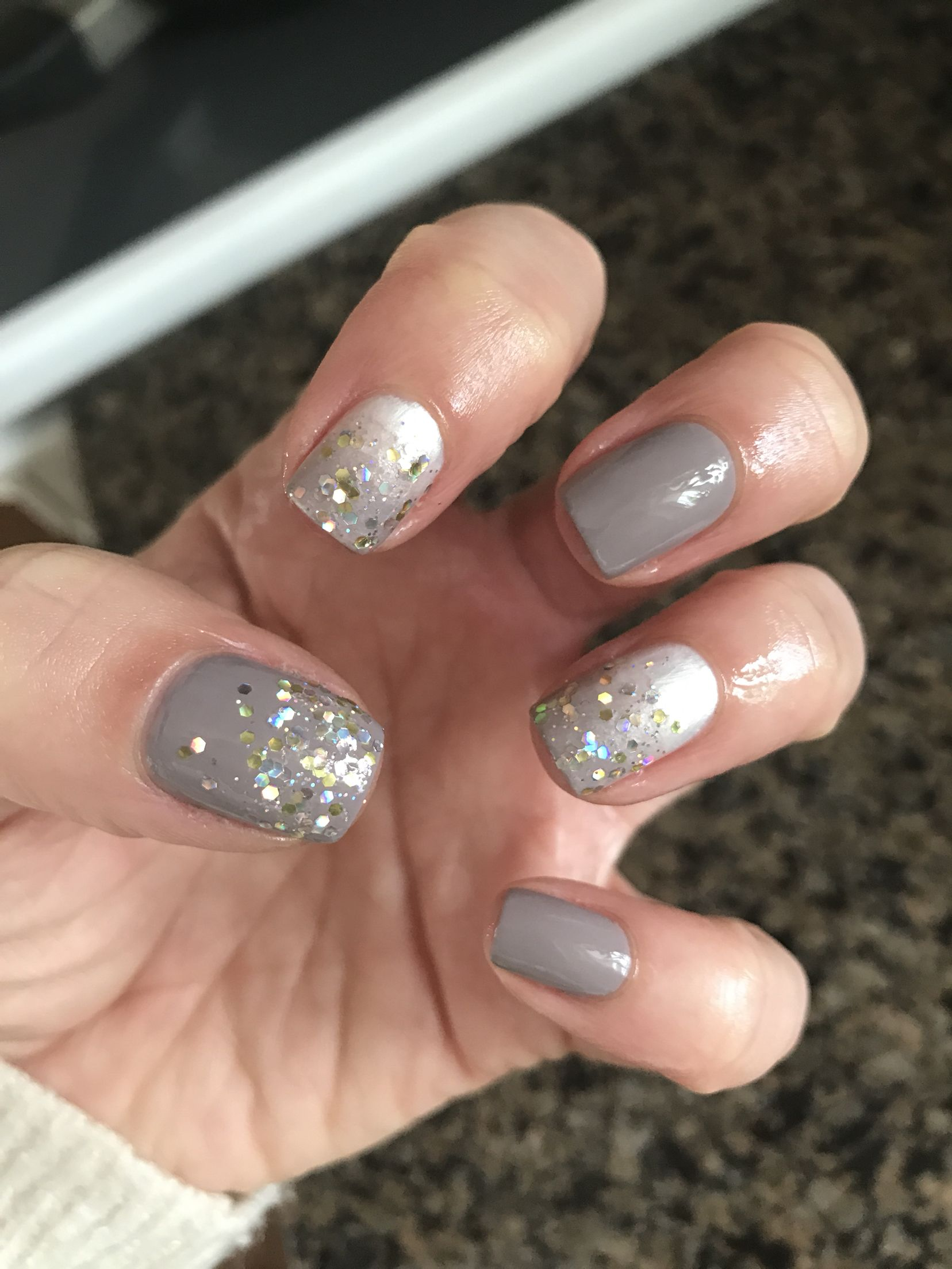 Neutral Sparkle With Images Shellac Nails Fun Nails French