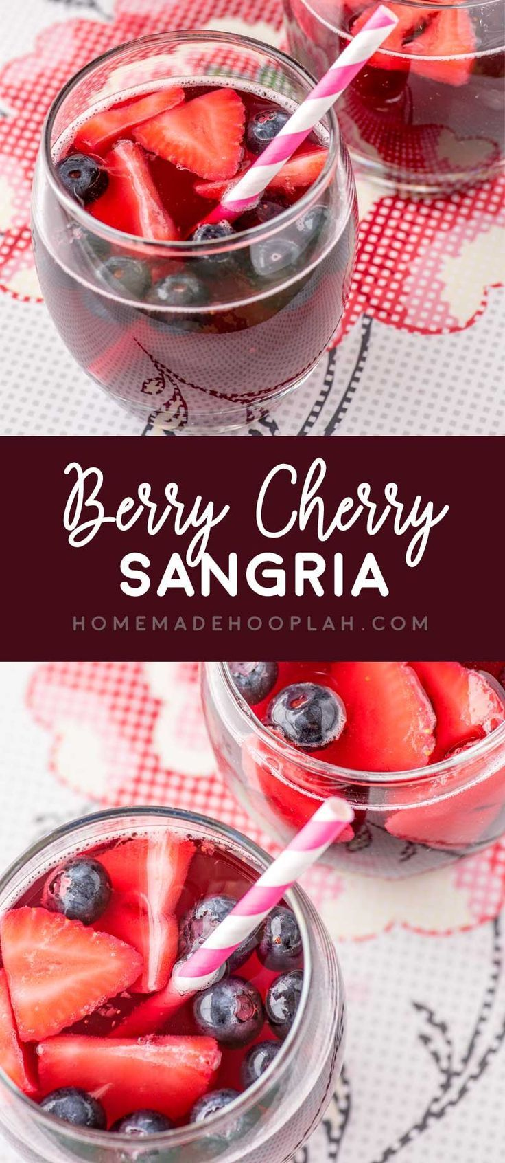 Berry Cherry Sangria Fresh Cherries Strawberries And Blueberries Are Soaked In Brandy Easy Sangria Recipes Summer Sangria Recipes Christmas Sangria Recipes