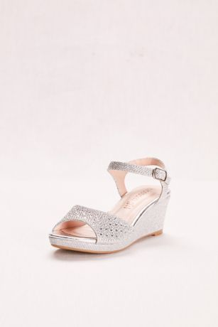 Crystal Studded Girls Glitter Wedge David S Bridal Bridesmaid Shoes Wedges Party Shoes