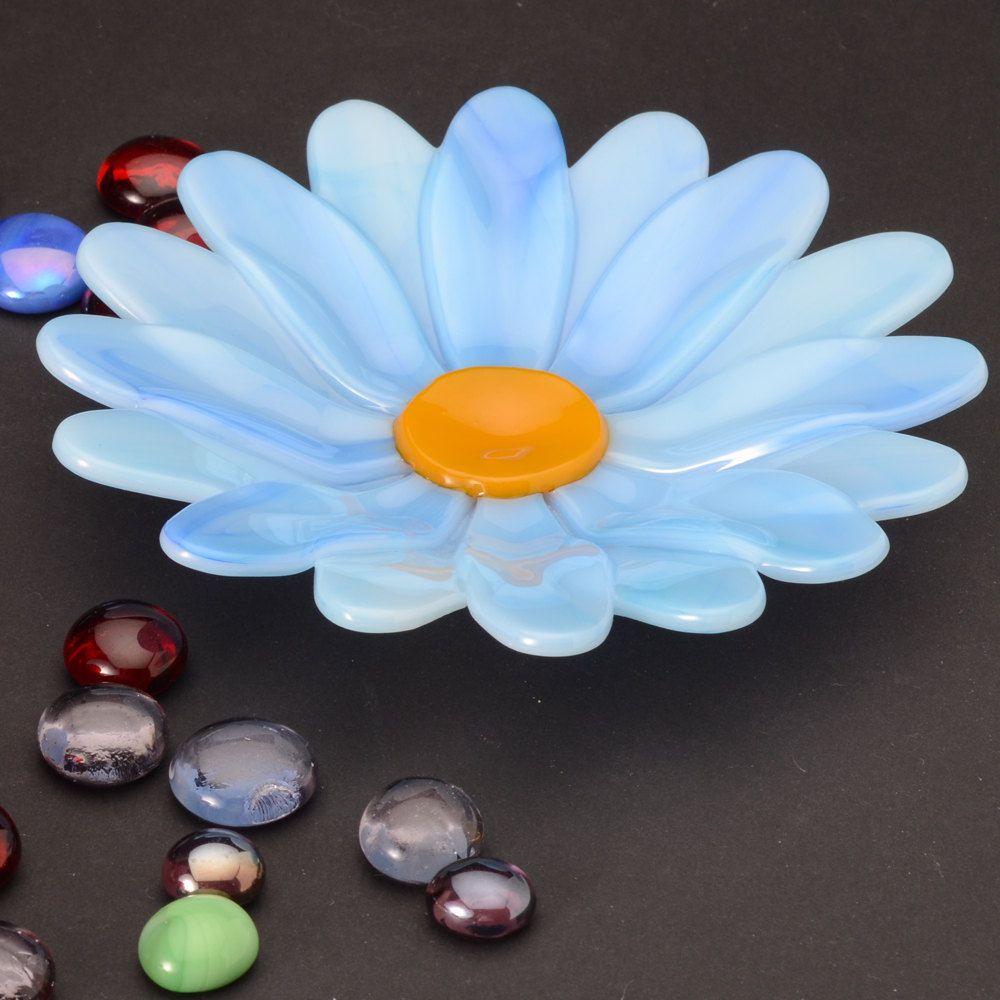 "Blue Flower Dish fused glass 5.25"" diameter. $21.00, via Etsy."