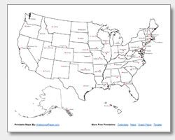 Printable us map with state capitals | Geography | Map, Map skills ...